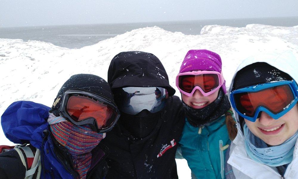 Hiking around on frozen Lake Michigan