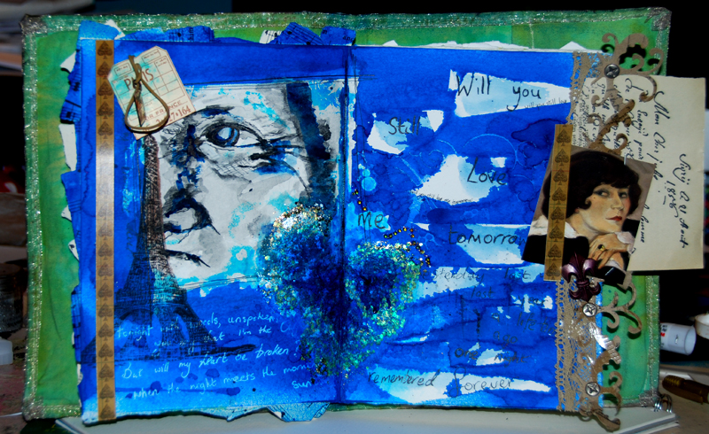 """watercolour portrait and collage  will you still love me tomorrow?   my wip contribution to this round of the collabor-art """"desert island discs'  circle journal."""