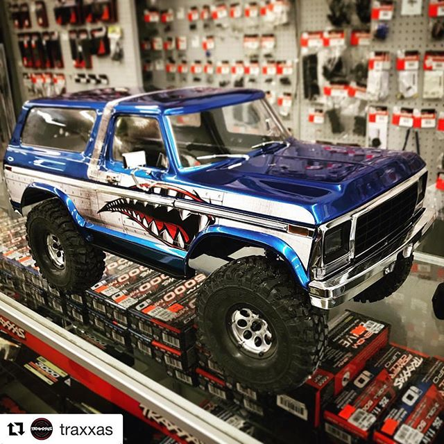 "Employee Gene got featured on @traxxas yesterday! Make sure to vote for his Shark ""Toothy"" Bronco!  #Repost @traxxas with @get_repost ・・・ VOTE ✅: Which custom Traxxas TRX-4 Bronco is YOUR favorite?! Choose - Shark Attack, Sheriff, Blue Beauty or Throwback  #TRX4week #TRX4Explore Clear Bronco body —  {[Link in Bio]} Part # 8010 #TraxxasFanPhoto 📸: @rogershobbycenter @bronco.man @topherbuilds @michaelplatypuss1 #FastestNameInRadioControl #TRX4Bronco"