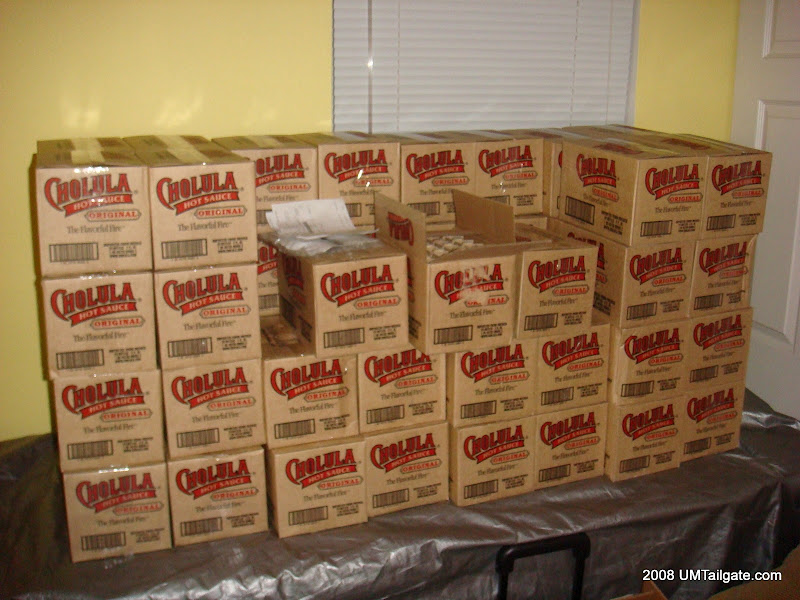 From October 1, 2008 Of note, that's the grill underneath our shipment of Cholula.  Yes, the grill used to be kept inside my apartment.