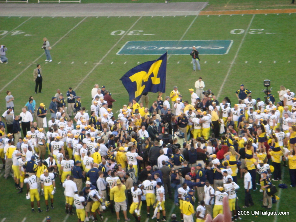 January 1, 2008:  Michigan hands Tim Tebow his only bowl loss, as the Wolverines hang on in the Capital One Bowl and defeat Florida 41-35 in Lloyd Carr's final game as head coach.