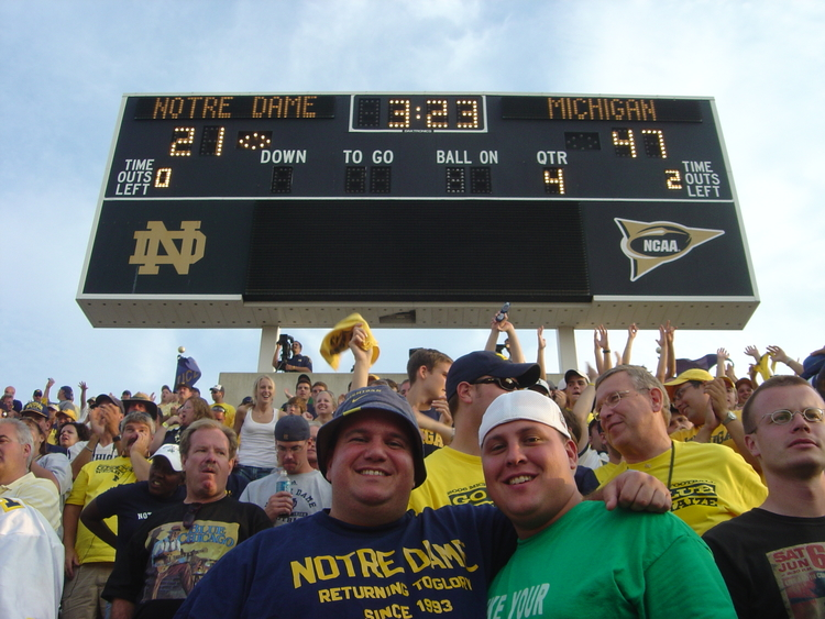 September 16, 2006. Michigan defeats Notre Dame 47-21 in South Bend., and I wore a floppy Michigan fisherman's hat.