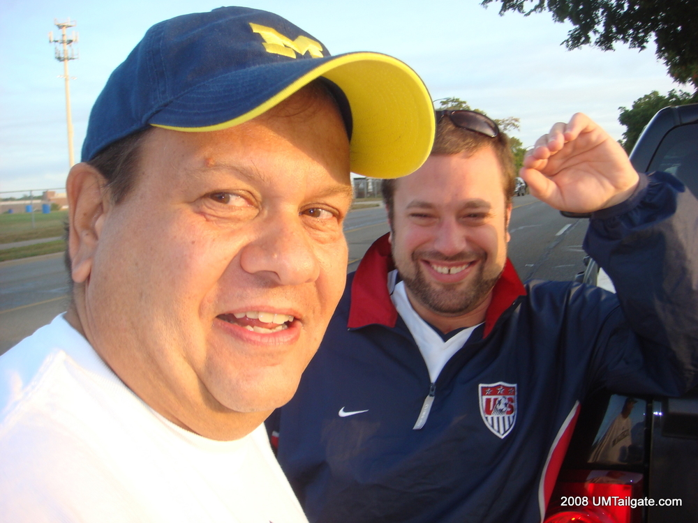 August 30, 2008: Godfather and Tuba cavort while waiting in line to get into the golf course for Rich Rod's first game.  Michigan 23 - Utah 25.
