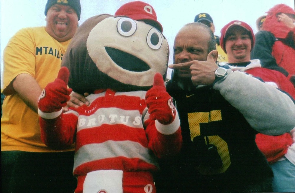 November 17. 2007.  Kevin Cowbell and I attack mini-Brutus in section 30 as Michigan falls 14-3 in one of the worst games I've ever had to sit through.