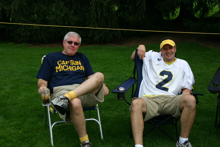 September 9, 2006:  Father and son Goodell relax at the tailgate before Michigan beats up on Central Michigan 41-17.