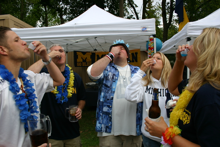 Vanderbilt 2006:  Michigan 27 - Vanderbilt 7.  Rained out golf course put us at Mr. and Mrs. Tailgate Girl's college house.
