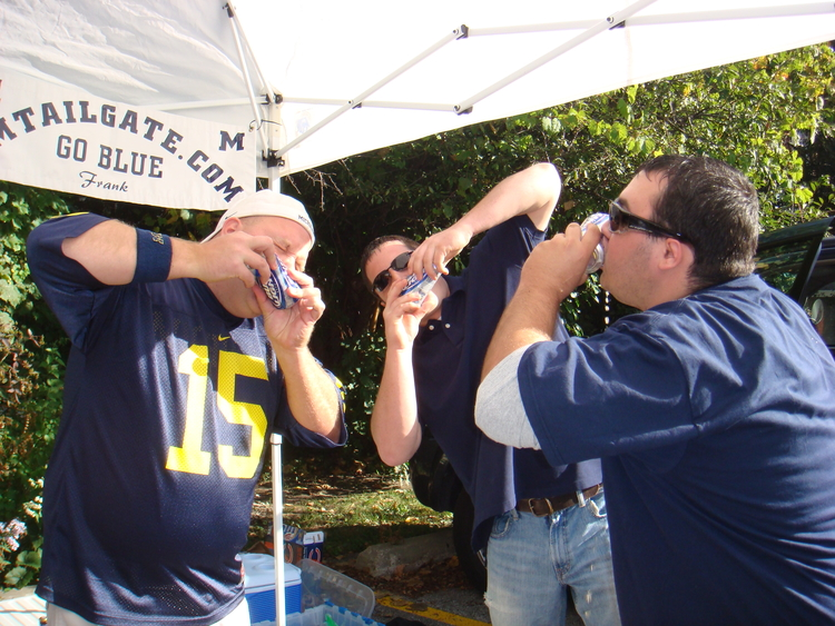 September 29, 2007:  Shotgunning in Evanston before Michigan's 28-16 victory over Northwestern.