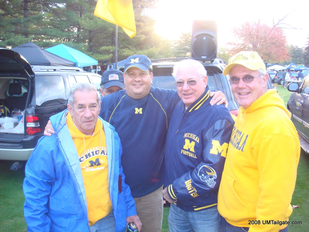 October 28, 2013:  The elder statesmen of UMTailgate gather before Rich Rod's first attempt to thwart the Spartans goes awry, 35-21.
