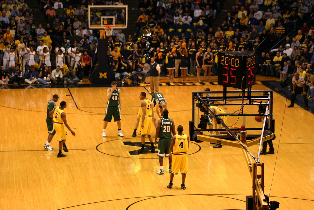 January 25, 2006:  Tipoff of Michigan's 72-67 victory over Michigan State.