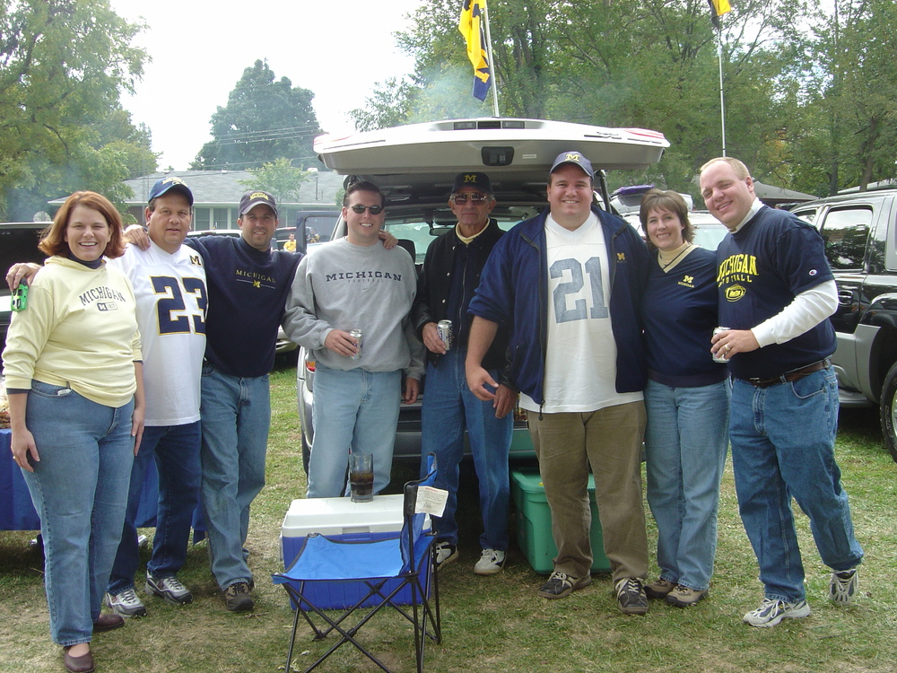 October 4, 2003:  Group picture in Iowa City before Michigan falls 30-27 to the Hawkeyes.
