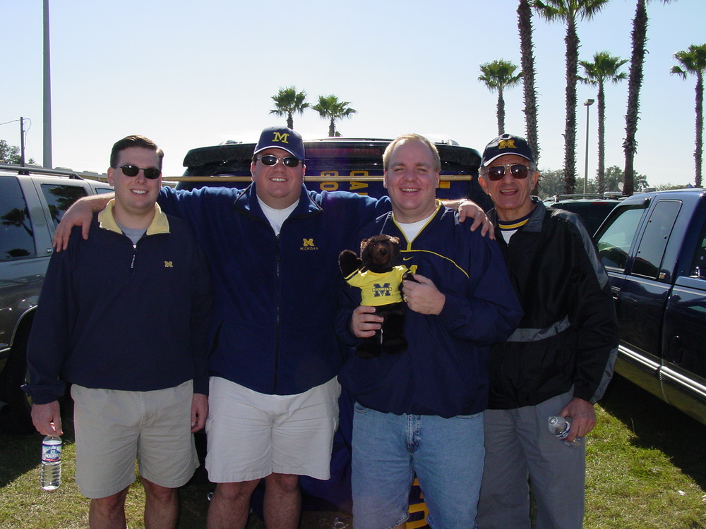 Jan 1, 2002:  The four-man crew that made it's way to Orlando to watch Michigan fall 45-17 to the Tennessee Volunteers in the last Citrus Bowl (now called Capital One).  We drove back after the game...straight through to Michigan.  Dear basketball team, AVENGE ME!!!