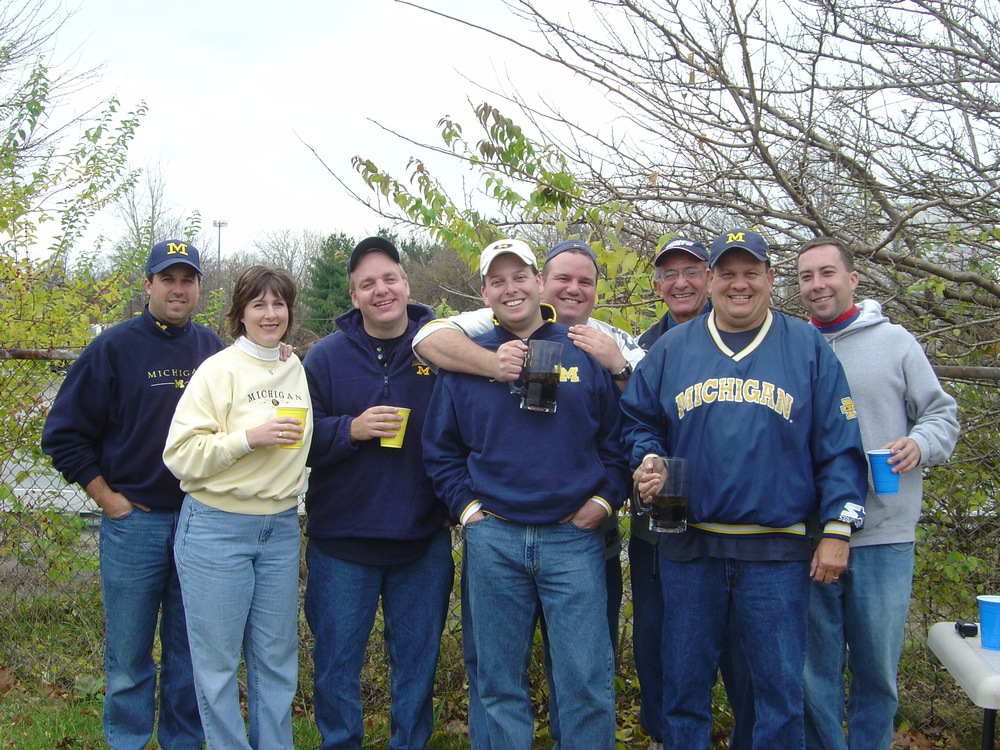 November 20, 2004:  A small group tailgates on a highway on-ramp in Columbus before the Wolverines fall 37-21 to the Buckeyes.