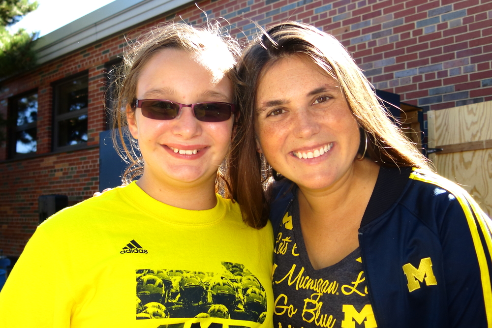 9/14/13: Michigan 28-Akron 24  : Lisa and Bella at the Pizza party before a lackluster performance by the Wolverines.