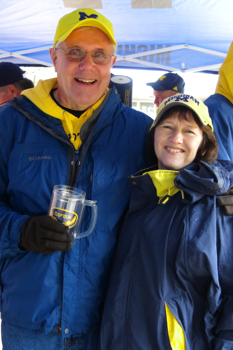 10/19/13 Michigan 63 - Indiana 47  :  Captain and the Mrs. pose at the White Trash tailgate before the Rich-Rod-esque shootout with Indiana.