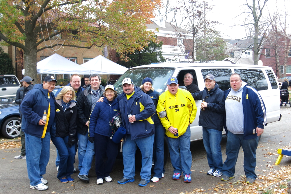 11/16/13 Michigan 27 - Northwestern 19  :  The group picture at the drop off point, just a stones-throw from our seats.