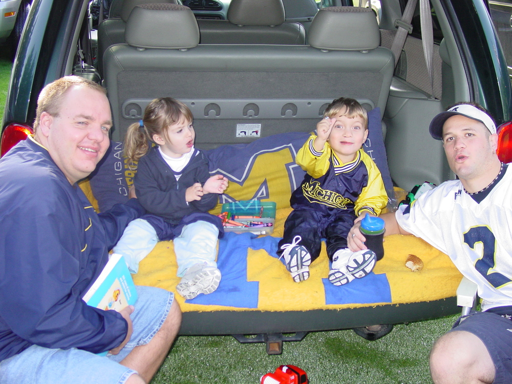 September 22, 2001 - Bubba and Goody acting like dads before Michigan beat Western 38-21 in front of a red, white, and blue laden crowd.