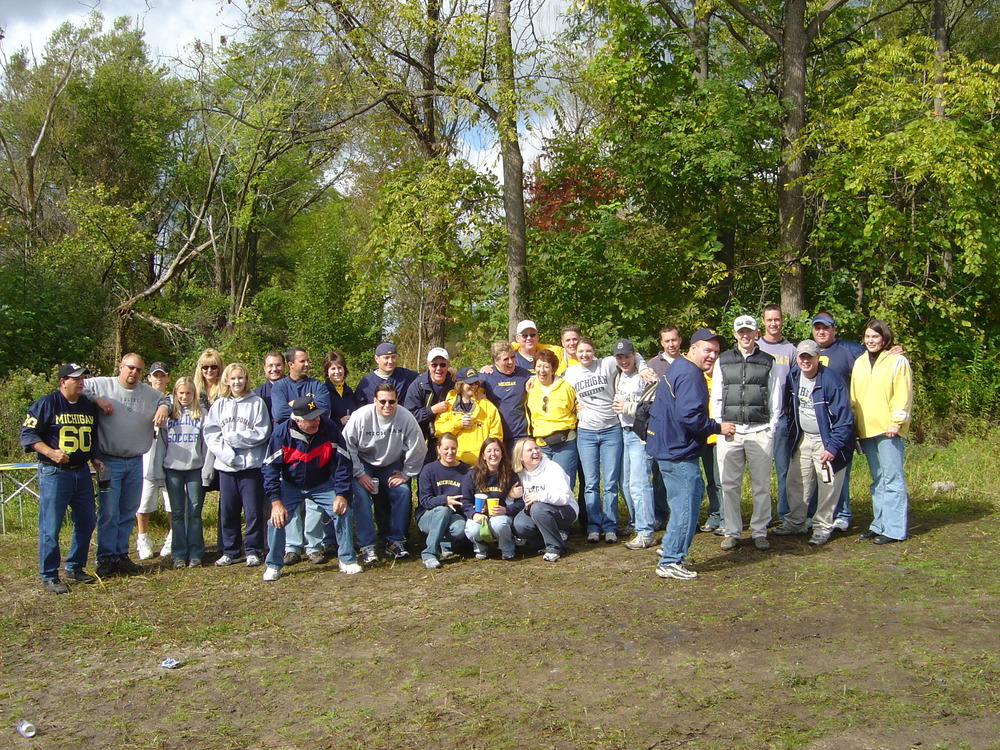 September 23, 2003:  The crew poses with the wooded backdrop of the tennis court lot before Michigan's 31-17 victory over the Indiana Hoosiers.