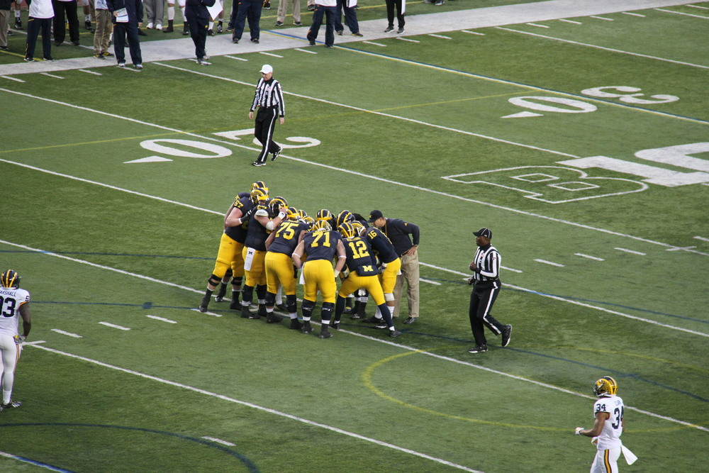 Harbaugh in the Huddle