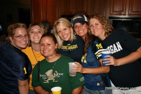 "September 13, 2008:  We gathered together for the ""Party at The Godfather's"" before the Wolverines took the field in South Bend.  Later, RichRod's boys crapped the bed and had 6(!) turnovers in a 35-17 loss to the Irish.  Game page is  here ."