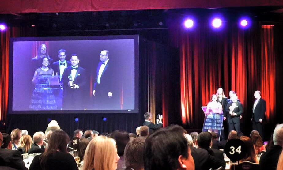 "The crew of ""Being George"" accepts the NY Emmy for Best Documentary."