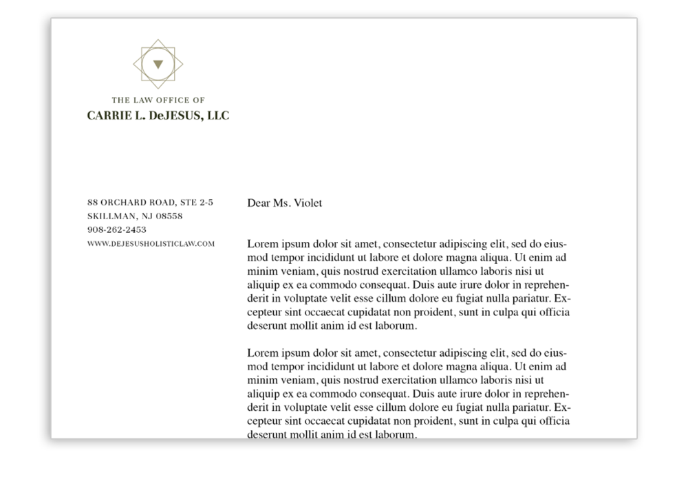 Logo and letterhead design: The Law Office of Carrie L. Scattergood, LLC