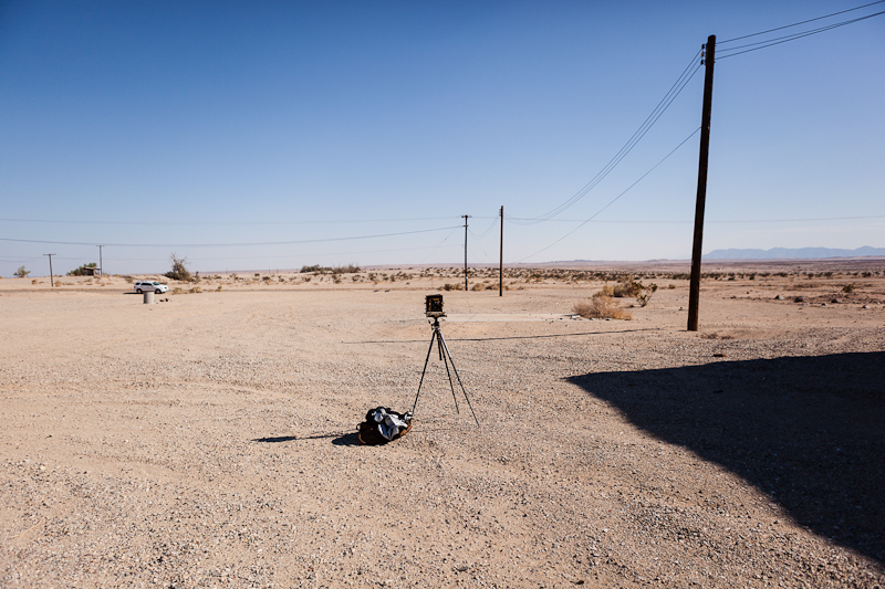 My view camera set up for a shoot in Salton City in August of 2012.