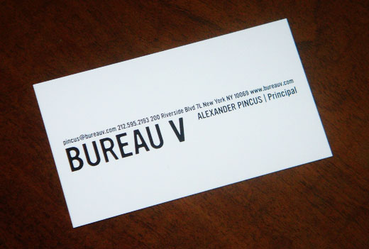 Bureau V Business Card Alexander Pincus