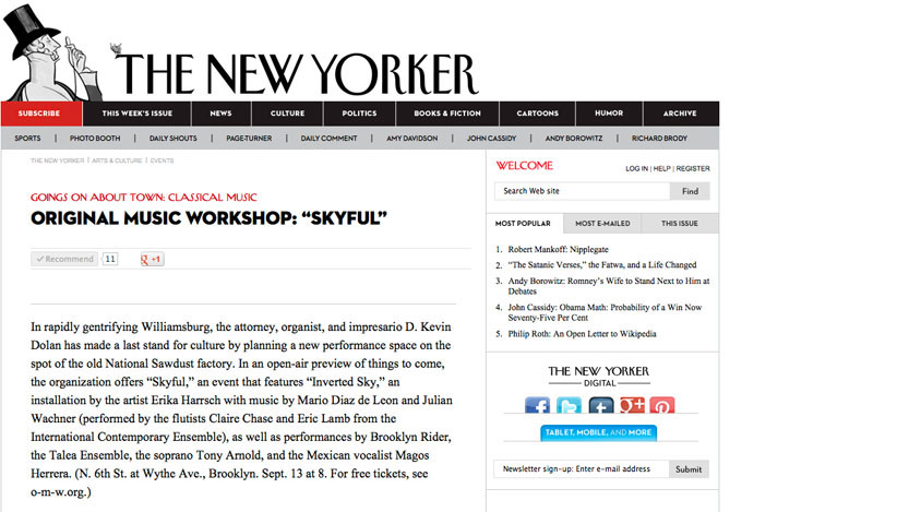 Original Music Workshop's  preview performance, Skyful, is recommended by the  New Yorker .