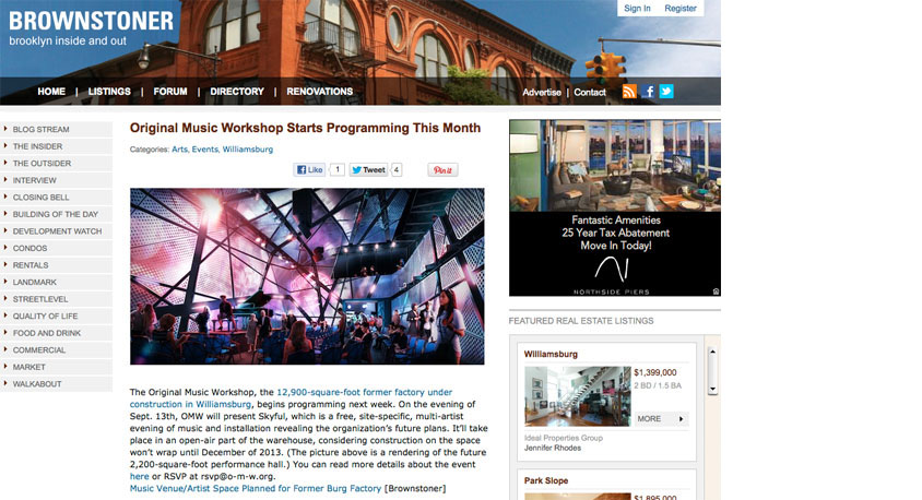 Original Music Workshop is featured on Brownstoner.