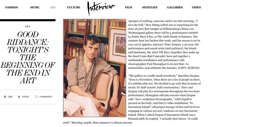 Peter Zuspan in Interview Magazine