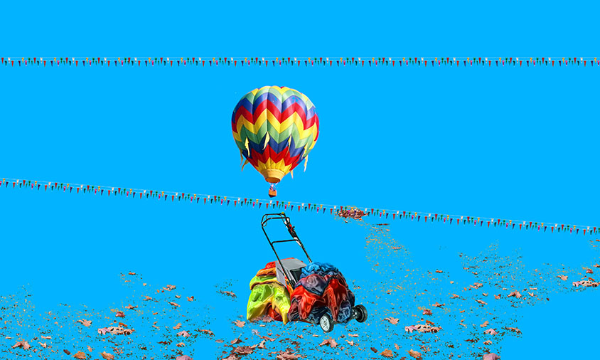 XV Fall Collection Flag Balloon Lawnmower Leaves