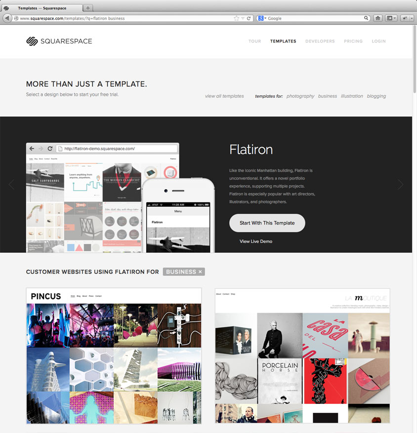 www.pinc.us featured on squarespace homepage flatiron template