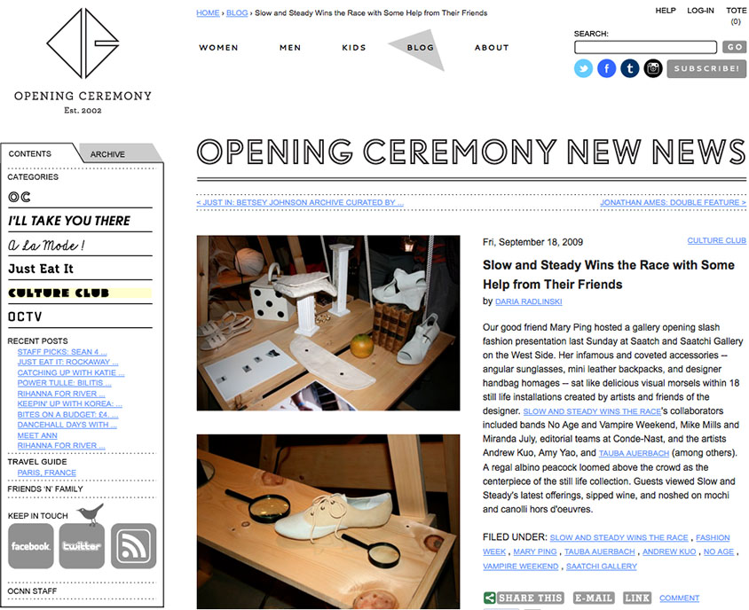SSWTR / Mary Ping on Opening Ceremony Blog