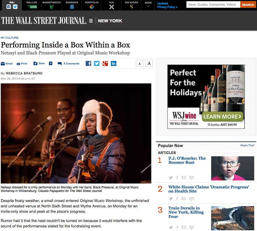 Original Music Workshop in Wall Street Journal