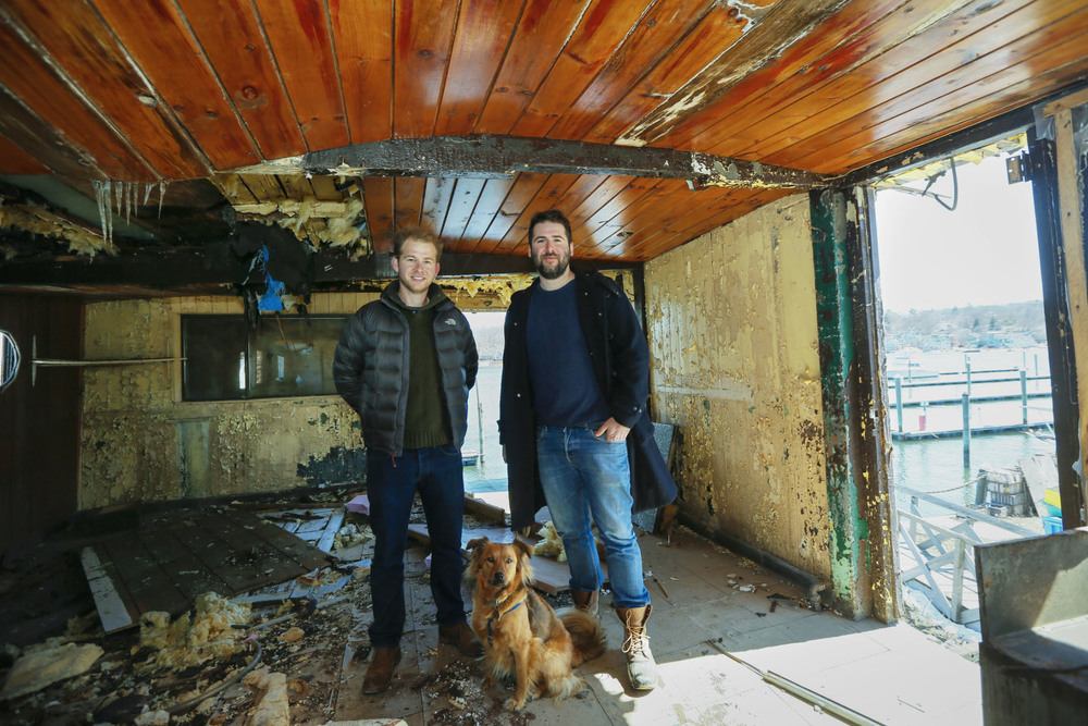Miles and Alex Pincus, brothers and maritime preservationists, on the second floor of the barge, which will be returned to and restored in New York City. Credit Ángel Franco/The New York Times