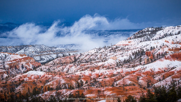 A light afternoon snowstorm blankets the canyon. Olympus OM-D E-M5, 45mm F1.8