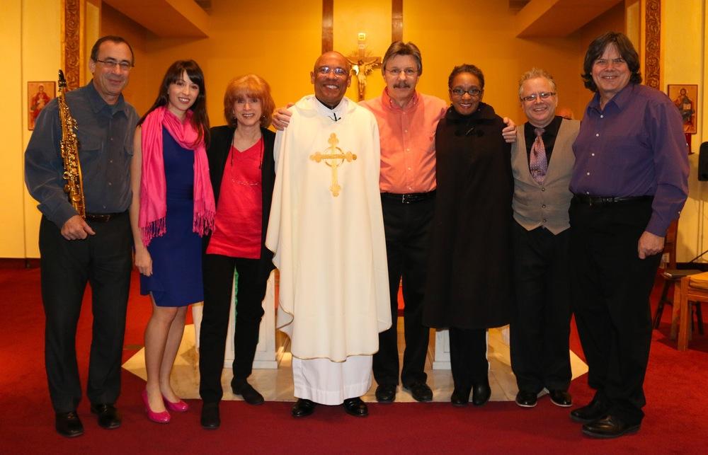 L to R: Sam Levine, Me, Marlène Tachoir, Father Carré, Jerry Tachoir, Connye Florance, Rich Adams, Roy Vogt