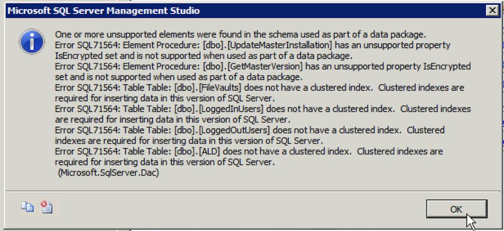 Error Details on SQL Azure deployment