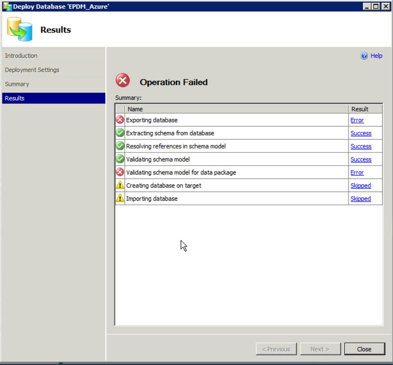 Error on deployment to SQL Azure