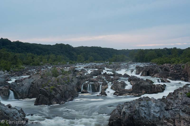 Great Falls with an unimpressive dusk sky.