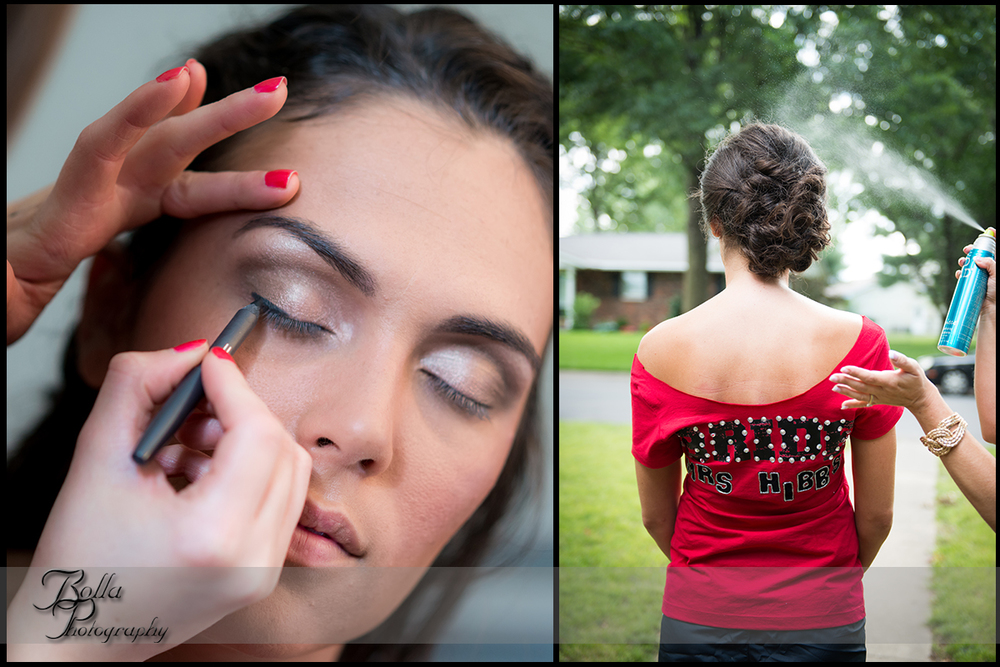 004_Bolla_Photography-wedding-preparations-outside-bride-makeup-hair-spray-personalized-red-shirt-Mascoutah-Hibbs.jpg