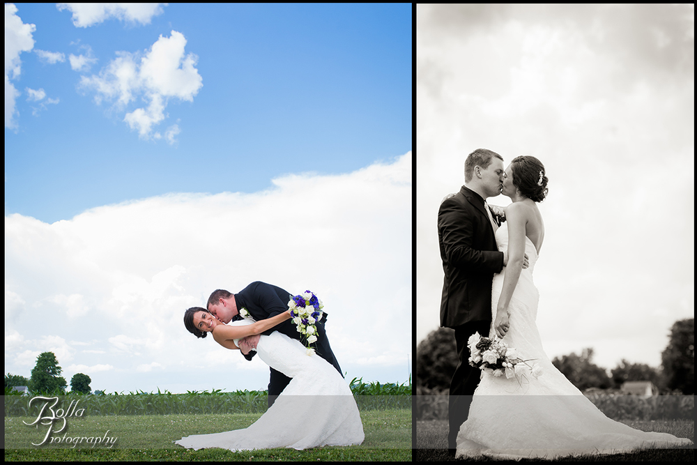 012_Bolla_Photography-wedding-portraits-bride-groom-couple-cornfield-clouds-sky-dip-kiss-New_Baden-Hibbs.jpg