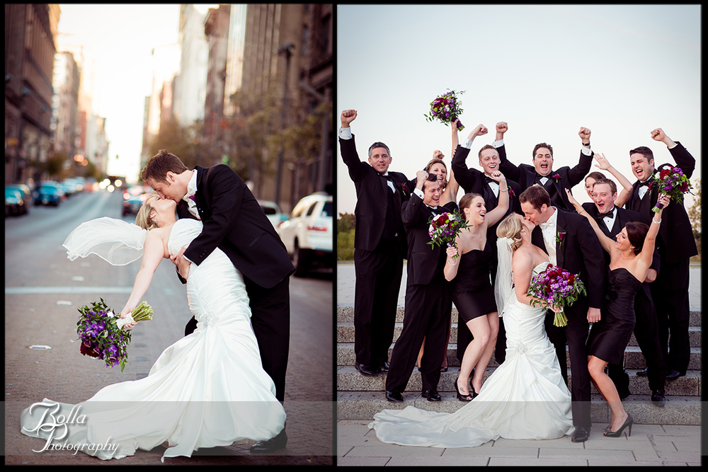 014-Bolla-Photography-wedding-Saint-Louis-MO-STL-bride-groom-portraits-washington-avenue-stret-kiss-dip-forest-park-bridesmaids-groomsmen-cheer-Peters.jpg