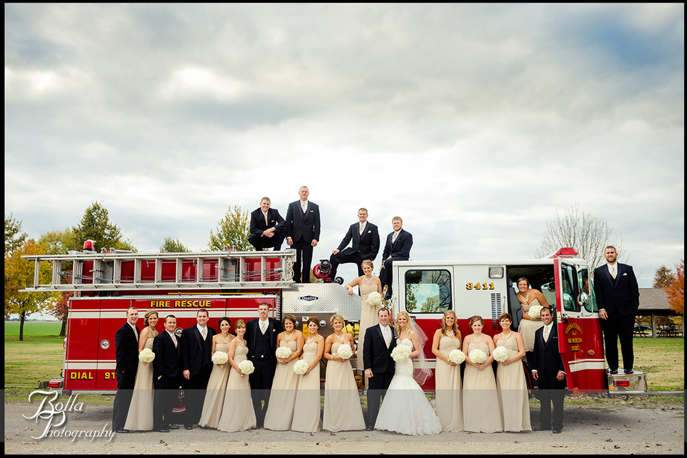 013-Bolla-Photography-wedding-Germantown-IL-portraits-bride-groom-bridesmaids-groomsmen-Breese-park-fire-truck-engine-Albers.jpg