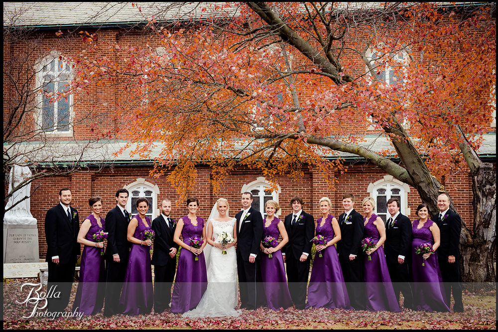 013-Bolla-Photography-wedding-Belleville-IL-bride-groom-portraits-church-wedding-party-bridesmaids-groomsmen-leaves-tree-fall-autumn-purple-Wilson.jpg