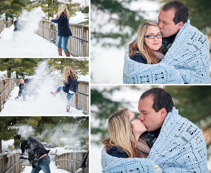 bolla-photography-st-louis-edwardsville-siue-gardens-park-engagement-winter-snow-fight-bridge-hug-blanket