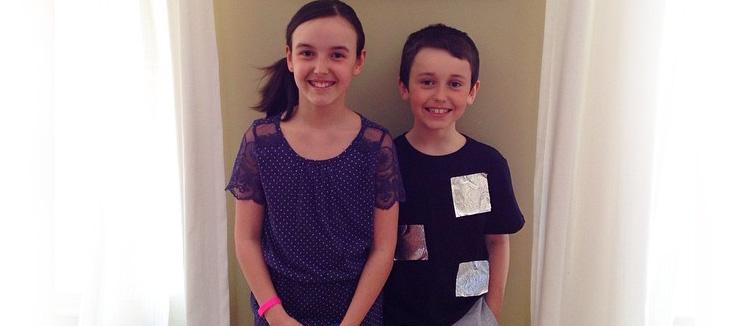 Mes enfants prêts pour le concert de fin d'année