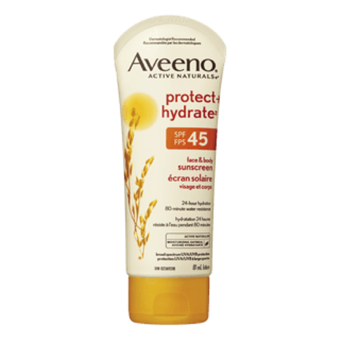 ÉCRAN SOLAIRE PROTECT + HYDRATE AVEENO   FPS 45