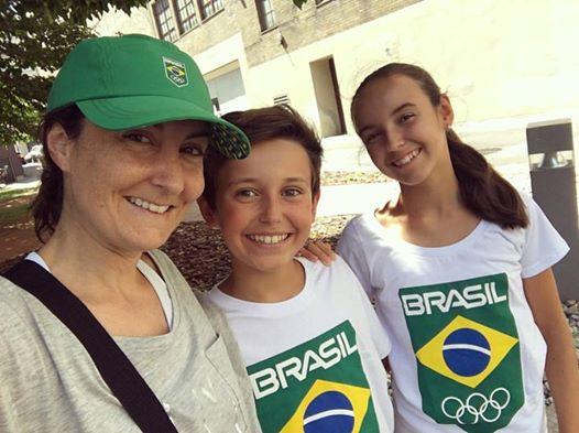 Moi et les enfants, à mon retour de Rio.