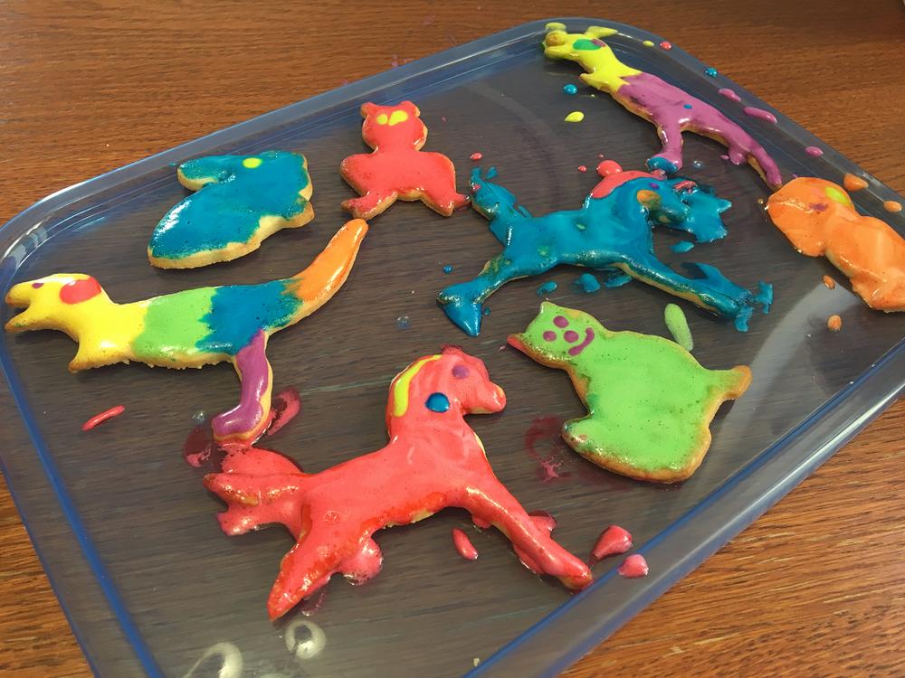 peinture à la guimauve sur biscuits